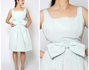 Vintage 1950s Powder Blue Sleeveless Party Dress with Bow by Tefako Modell | Medium