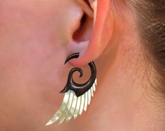 Fake Gauges, Handmade, Wood Earrings, Cheaters, Split, Tribal Jewelry - Shell Wings MOP Brown - Wood Max's Angel Wingss - SWM2
