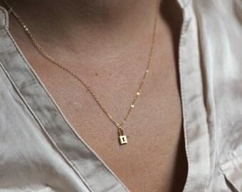 Lock Necklace, Dainty Necklace, Everyday Necklace, Luck Necklace, Small Lock Necklace, Silver Necklace, Gold Necklace, Padlock Necklace