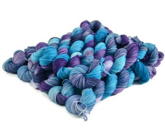 Mini Skeins, Hand Dyed Yarn, Sock Weight, Superwash Merino Wool Yarn, Knitting Yarn, Sock Yarn, Multi-colored, aqua, purple, blue - Voyager