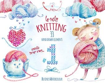 Lovely knitting clipart, hand drawn, watercolor, yarn, wool, collage sheet, logo, knitter, stickers, branding kit, knit, illustration
