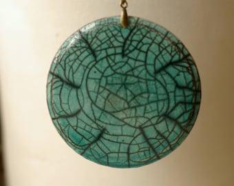 Raku pendant, large ceramic bead round turquoise enamel with fine black lines -
