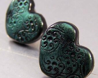 Green Hearts Polymer Clay Earrings Post Earrings