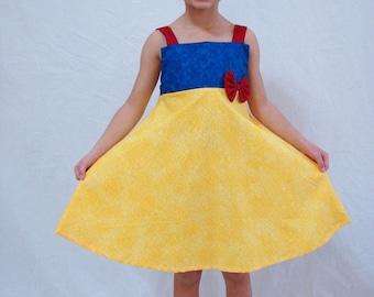 custom boutique sundress made with  Disney princess snow white fabric 2-6
