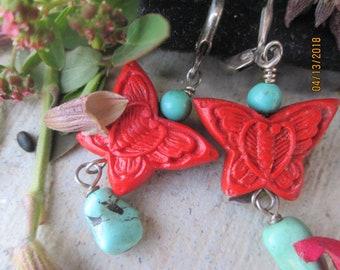 Butterfly Turquoise Coral Dangle Earrings 925 Southwestern Jewelry Pierced Ears Gift Idea Boho
