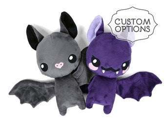 Bat Plush Custom Color Stuffed Animal in Minky with Floppy Wings & Ears - Made to Order