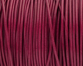 2MM Round Leather Cord - Fuchsia - 2Yards/6ft - High Quality European Leather Cord