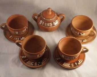 Vintage handmade Terra cotta southwestern cups and saucers and sugar bowl