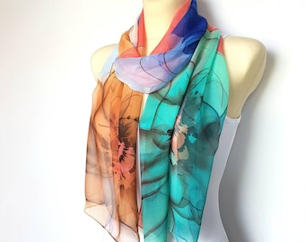 Sheer Chiffon Scarf Women Scarves Floral Shawl Spring Scarves for Women Orange and Blue Scarf for Women Lightweight Scarf Gifts for Mom Gift