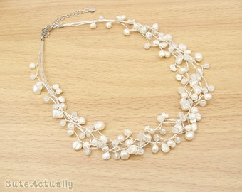 White freshwater pearl necklace with stone and crystal on silk thread, Bridal necklace, Wedding jewelry