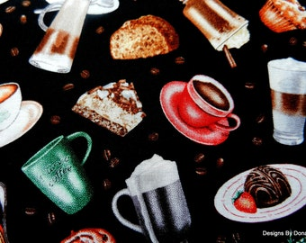 One Half Yard Cut of Quilt Fabric, Coffee Cups, Mugs, Sweets on Black, Roseland Solemon, Elizabeth's Studio, Sewing-Quilting-Craft Supplies