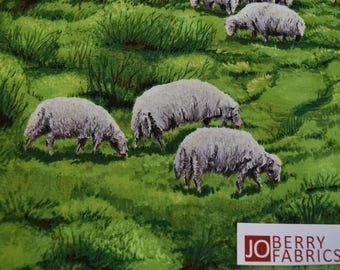 Sheep from in the Meadow Collection by Exclusively Quilters.  Quilt or Craft Fabric, Fabric by the Yard.