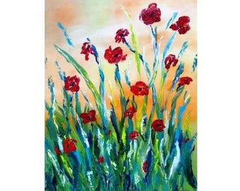 Poppy art Poppy painting Red poppies Poppy décor Abstract flower painting Original oil painting Flower wall art Red flower painting 18x24""