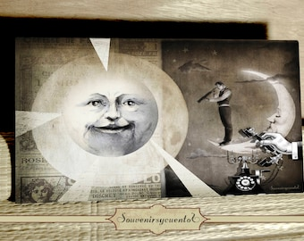 Call the sky print on wood panorama old style drawing