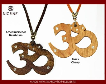 Chain Om made of wood, with Swarovski elements