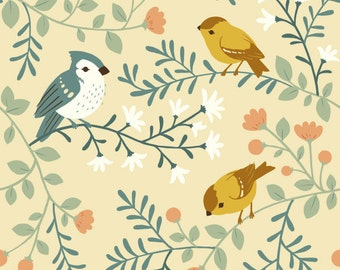 Birds and Branches in Cream - Organic Canvas - Acorn Trail by Birch Fabrics