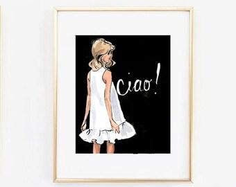 Travel Art Print: Ciao Girl