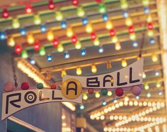 Mid-Century Retro Carnival Game Photography, Summer, Carnival Nursery Art, Santa Cruz Boardwalk, California Art Print - Roll-A-Ball Lights