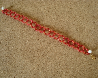 Bracelet red seed beads