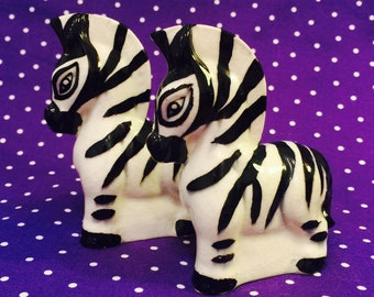 Anthropomorphic Striped Zebra Salt and Pepper Shakers made in Japan circa 1950s