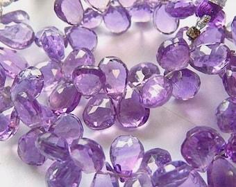 AAA Amethyst Gemstone Bead. Semi Precious Gemstone. Faceted Amethyst Pear Briolette, 10mm. Pairs or Non Match 1 to 9 Briolettes (53am1)