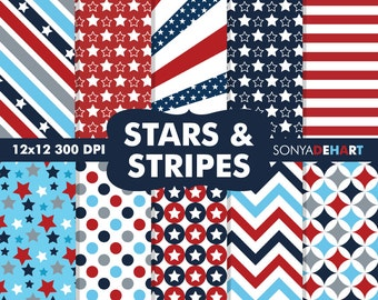 80% OFF SALE Digital Paper Stars and Stripes Patriotic Background Patterns
