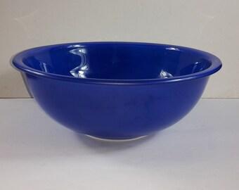 Vintage Pyrex Corning 4 L Glass Bowl 326 Blue w/Clear Bottom