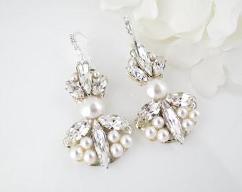 Art Deco bridal earrings, Swarovski rhinestone and pearl chandelier, Crystal and pearl dangle earrings, Wedding earrings, Unique earrings