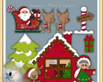 Christmas Clipart, Santa's Place