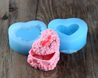 Candle Mold Soap Moulds 3D Rose Flower Heart Jewelry box Flexible Silicone Mould For Handmade Soap Candle Candy Cake Fimo Resin Crafts