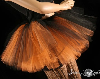 Layered two tone gothic adult dance tutu orange and black halloween dance costume -- You choose size -- Sisters of the Moon