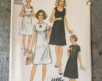 Vintage Simplicity Sewing Pattern 9175 Jiffy Dress Womens' Size 14 1/2