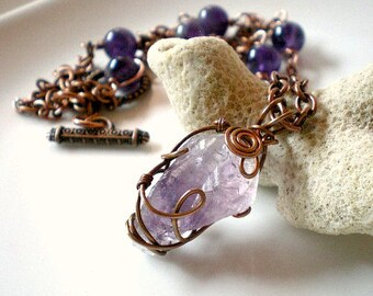 Amethyst Crystal Necklace, Raw Amethyst Pendant, Wire Wrapped Amethyst Pendant, Amethyst with Copper Chain Necklace,  Birthstone Jewelry