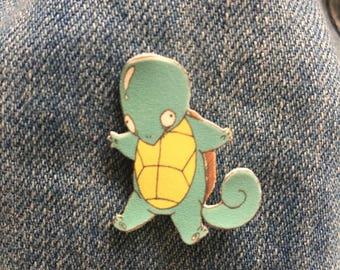 Pokemon -- Squart (Squirtle) Pin -- shrinky dink/pin/pokemon