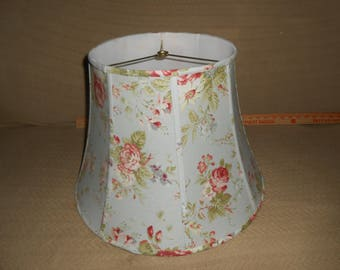Table Lamp Shade 12 x 11 x 18h Rose Floral Blue Fabric
