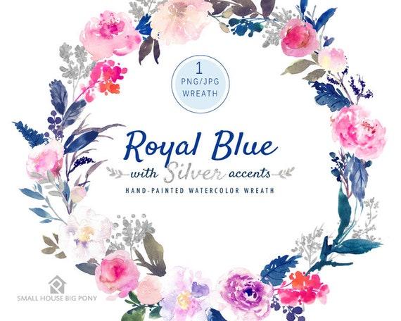 Purple Watercolor Flowers CLIPART- Handpainted flowers, Wedding Florals,   Watercolor Flowers- Royal Blue & Silver Wreath