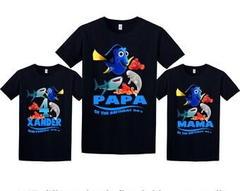 Finding Dory Birthday Shirt, Dory Custom Shirt, Personalized Nemo Shirt, Finding Dory family shirts, Birthday t-shirt for girls and boys