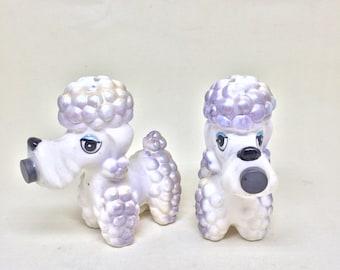 Vintage Purple Lustre Kissing Poodle Magnet Noses  Salt Pepper Shaker Japan