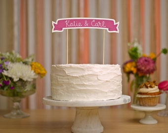 Custom Cake Banner No. 3 - Wedding Cake Topper