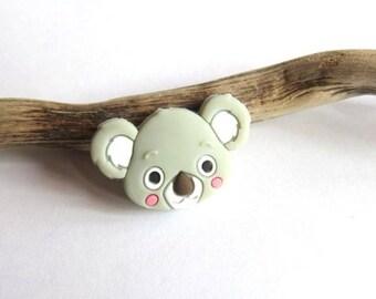 Light gray koala silicone bead