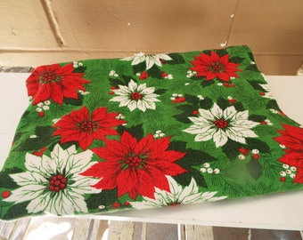 Vintage Christmas Tablecloth Poinsettias Red Green Rectangle  Mid Century Linen