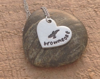"""Firefly inspired hand stamped """"browncoat"""" necklace"""
