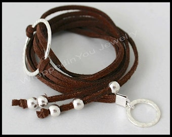 Boho Wrap Bracelet - Hammered Silver Infinity Circle Oval Heart Om or Horse Adjustable Beaded Microfiber Faux Suede Leather Triple Wrap 332
