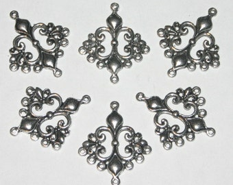 Silver Chandelier Pendants, Silver Charms, Silver Connectors, Earring Supplies, 36 x 30mm, 12 Pieces