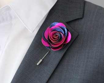 Royal blue and Fuchsia Mens lapel flower, lapel boutonniere,  lapel boutonniere,  hindi wedding boutonnniere