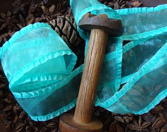 Turquoise Organza Ribbon with Ruffled Edges