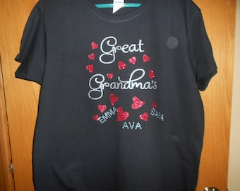 Great Grandma's Hearts with grandchildren's Names T Shirt