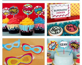 Superhero BIRTHDAY Party Printable Package & Invitation , INSTANT DOWNLOAD, You Edit Yourself with Adobe Reader