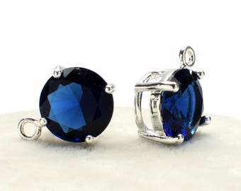 2 Round Montana Blue Crystal Glass Pendant, 12mm, Silver Plated over Brass Prong Setting. [R1020397]