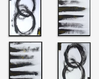 Black and white painting minimal minimalist minimalism abstract contemporary modern art decor tetraptych set of 4 multi panel framed artwork